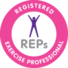 This badge is the REP (which stands for the Registered Exercise Professionals) certification badge. This badge means that the personal trainer is qualified and certified with the body of the REP. It is acquired after passing courses and exams, and through successful registration with the REP who over see quality control within the health and fitness industry.