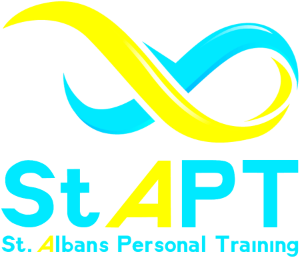 Welcome to the St Albans Personal Training Website! This picture is an image of our company logo. Our logo is an infinity sign, which represents an never ending journey towards becoming the strongest version of yourself. The colours are adapted from those used on the St Albans flag.