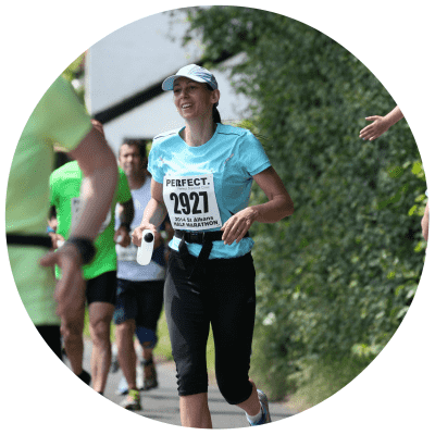 This is an image of a St Albans Personal Training client running a half marathon.